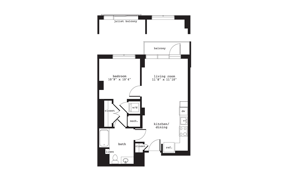A3 - 1 bedroom floorplan layout with 1 bath and 617 square feet.