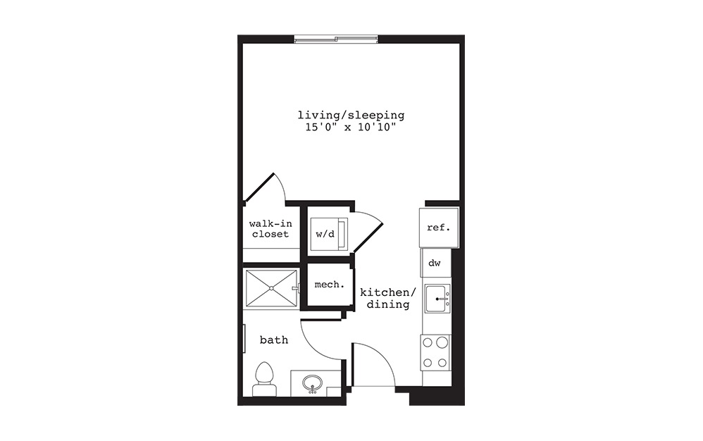 S2 - Studio floorplan layout with 1 bath and 397 square feet.