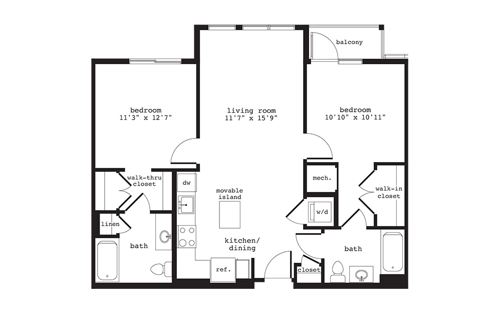 B2 - 2 bedroom floorplan layout with 2 baths and 936 square feet.