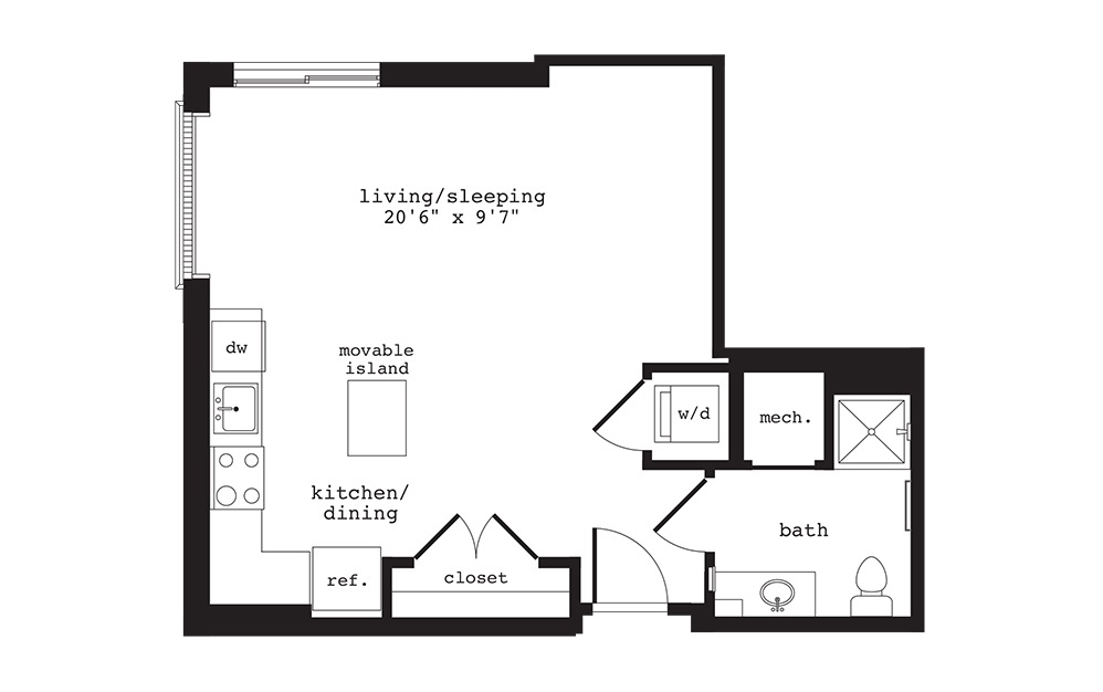 S11 - Studio floorplan layout with 1 bath and 560 square feet.