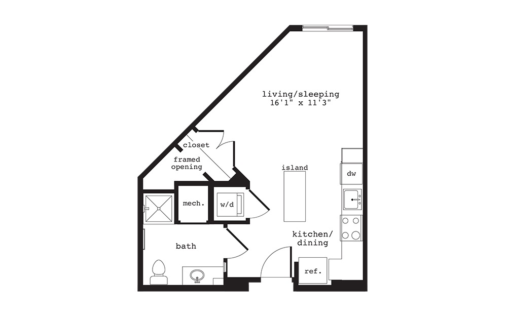 S7 - Studio floorplan layout with 1 bath and 460 square feet.