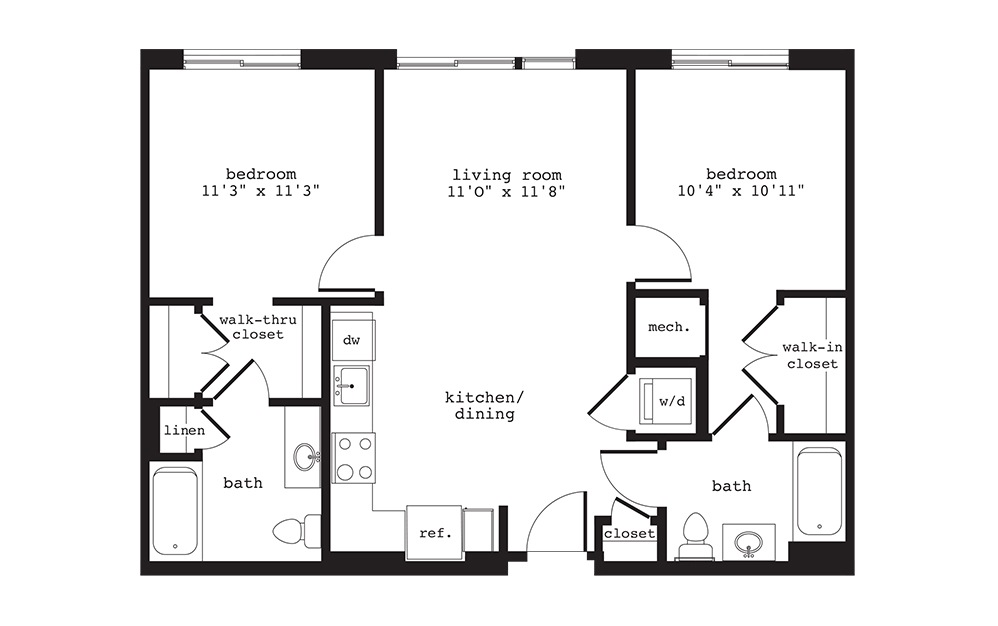 B1 - 2 bedroom floorplan layout with 2 baths and 893 square feet.
