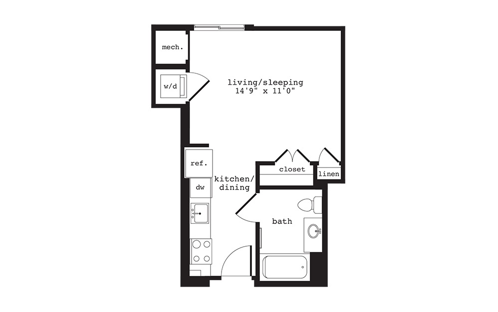 S3 - Studio floorplan layout with 1 bath and 411 square feet.