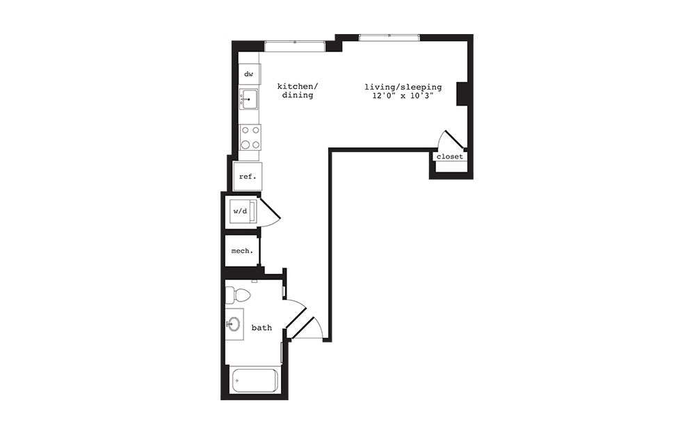 S9 - Studio floorplan layout with 1 bath and 490 square feet.