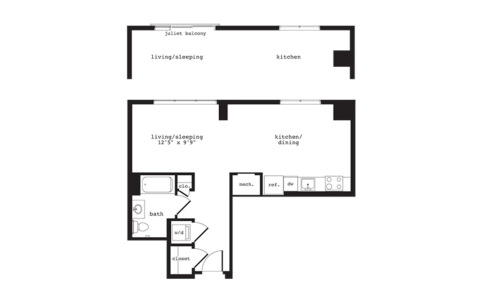 S13 - Studio floorplan layout with 1 bath and 667 square feet.