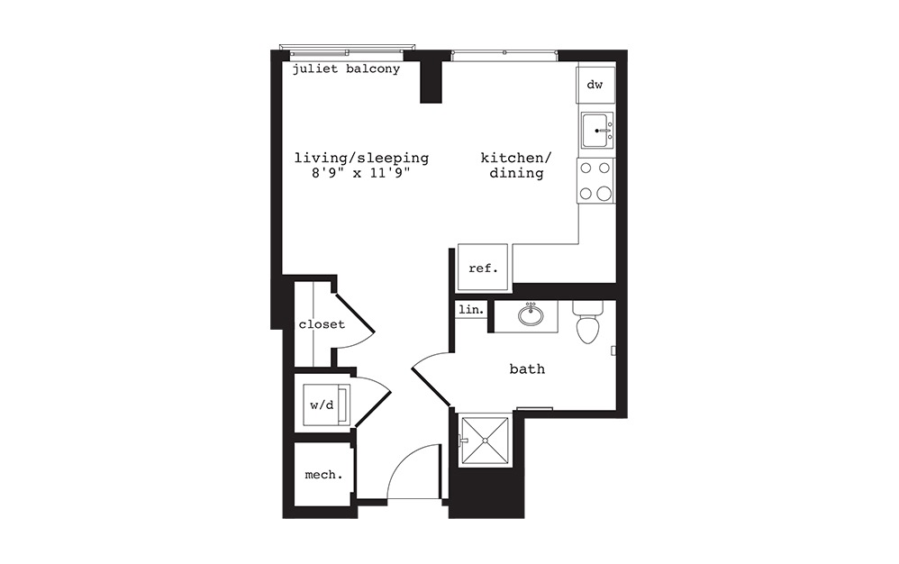 S1 - Studio floorplan layout with 1 bath and 388 square feet.