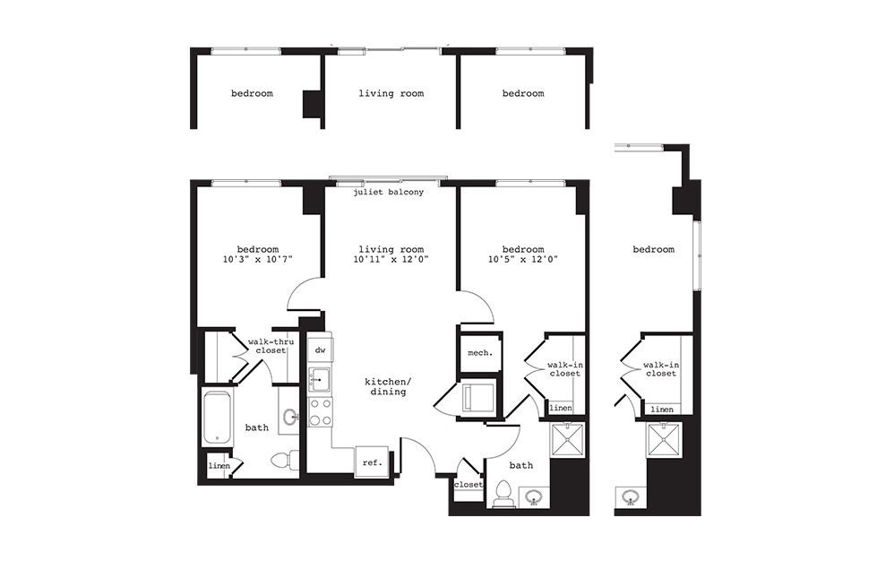B3 - 2 bedroom floorplan layout with 2 baths and 972 square feet.
