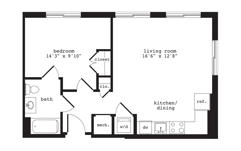 A6 - 1 bedroom floorplan layout with 1 bath and 638 square feet.