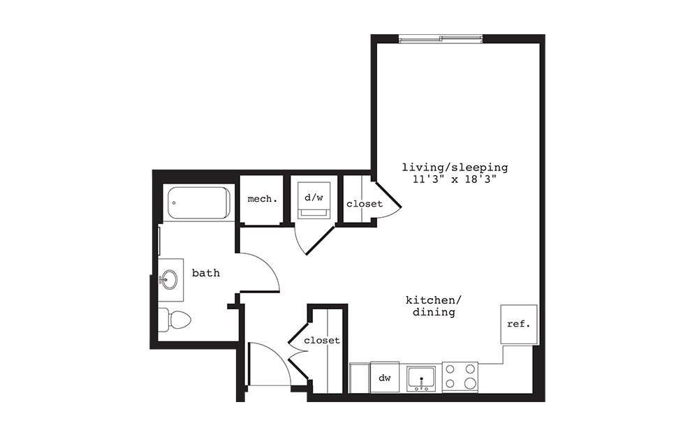 S10 - Studio floorplan layout with 1 bath and 532 square feet.