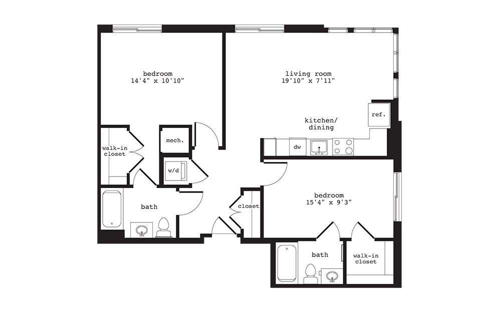 B5 - 2 bedroom floorplan layout with 2 baths and 969 square feet.