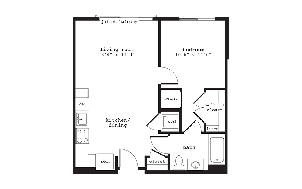 A4 - 1 bedroom floorplan layout with 1 bath and 627 square feet.