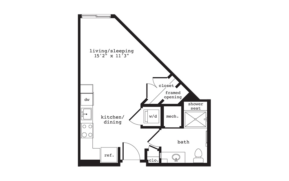 S6 - Studio floorplan layout with 1 bath and 438 square feet.