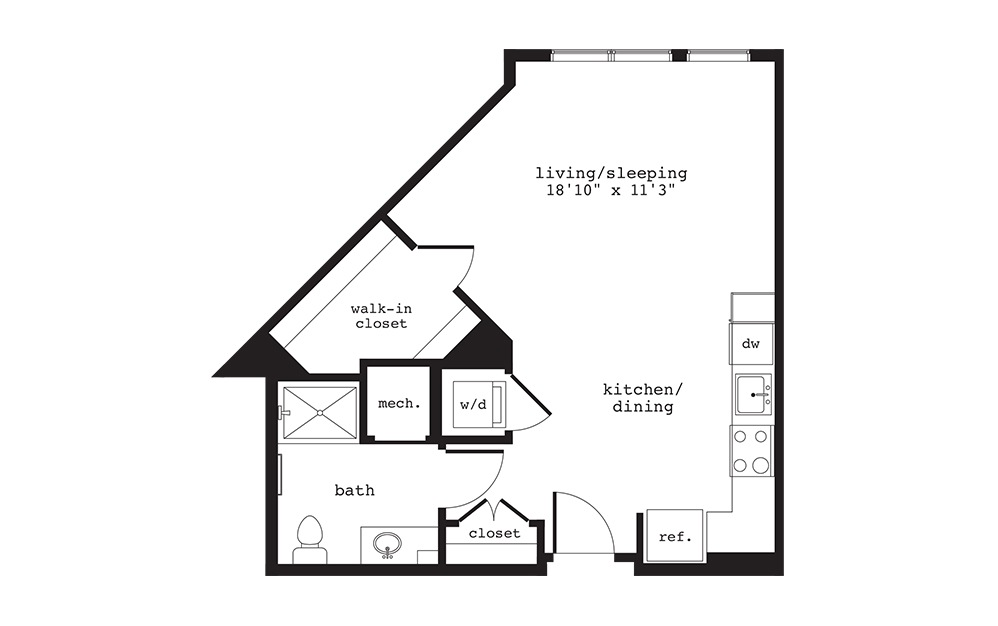 S8 - Studio floorplan layout with 1 bath and 553 square feet.