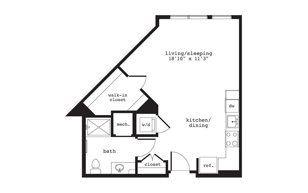 S8 - Studio floorplan layout with 1 bath and 553 square feet.