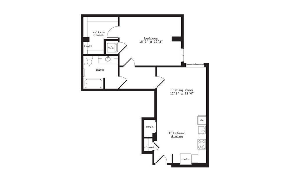 AD2 - 1 bedroom floorplan layout with 1 bath and 790 square feet.