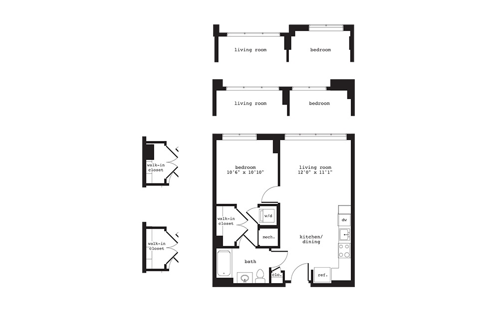 A2 - 1 bedroom floorplan layout with 1 bath and 595 square feet.