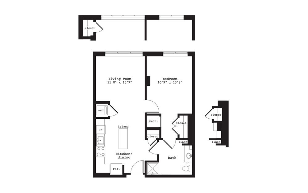 A9 - 1 bedroom floorplan layout with 1 bath and 684 square feet.