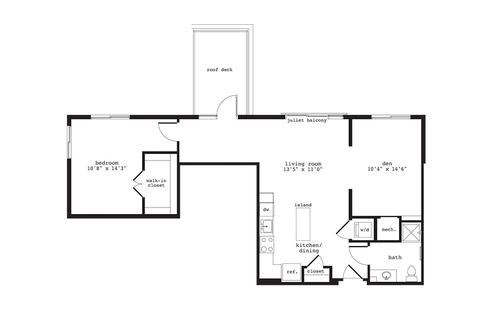 AD3 - 1 bedroom floorplan layout with 1 bath and 957 square feet.
