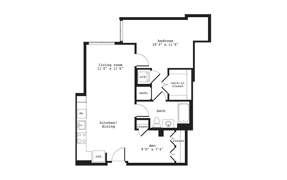 AD1 - 1 bedroom floorplan layout with 1 bath and 789 square feet.