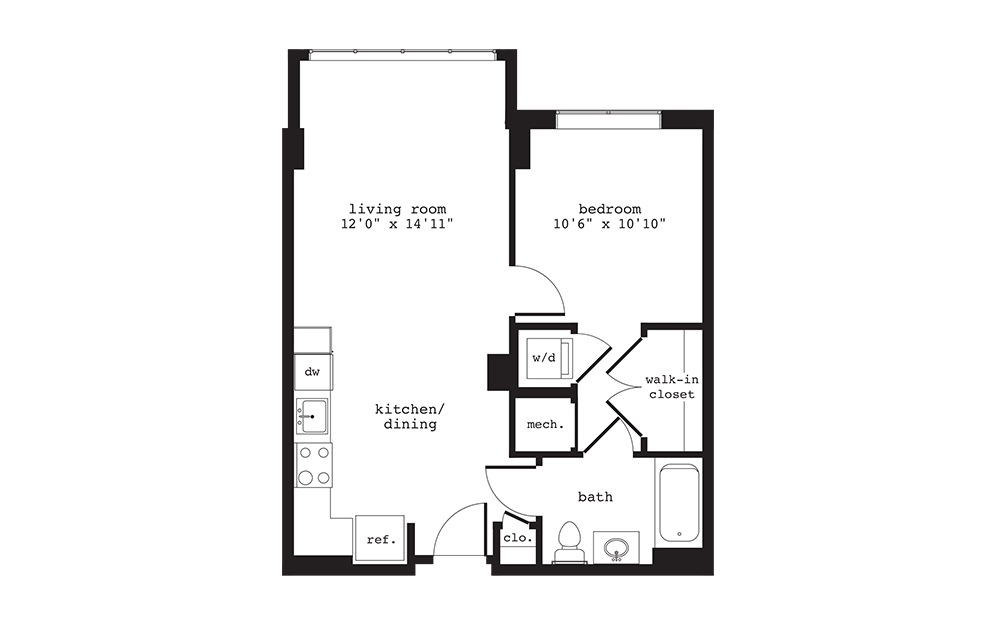 A1 - 1 bedroom floorplan layout with 1 bath and 593 square feet.